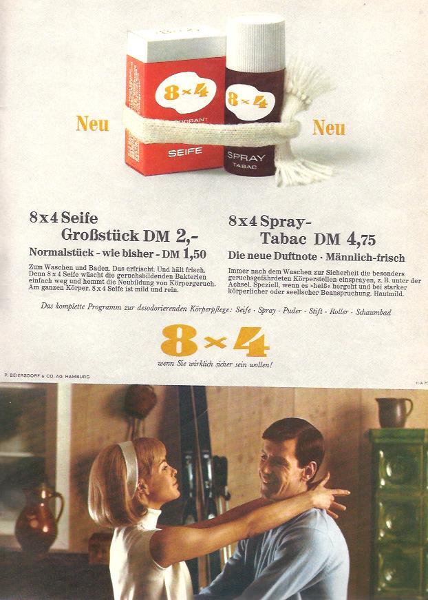 """Beiersdorf aus Hamburg wirbt in dieser Anzeige aus dem Jahr 1967 für das neue """"Großstück"""" der 8x4 Seife und das neue 8x4 Tabac Spray - ein männlich-frisches Deodorant."""