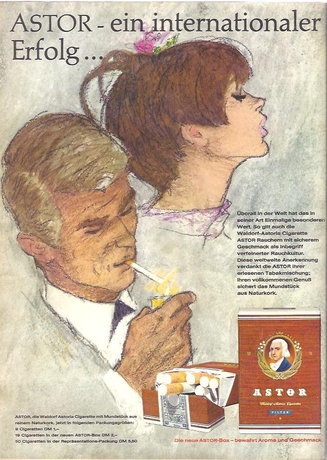 """Werbung für die Zigarettenmarke Astor 1967: Die Waldorf-Astoria Cigarette Astor als Inbegriff verfeinerter Rauchkultur. Besonders ist das """"Mundstück"""" aus Naturkork."""