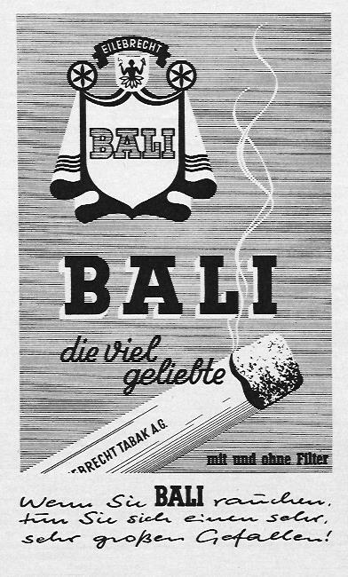 """""""Wenn Sie BALI rauchen, tun Sie sich einen sehr großen Gefallen"""" schreibt der Texter in dieser Anzeige für die Zigarettenmarke BALI aus dem Jahre 1962"""