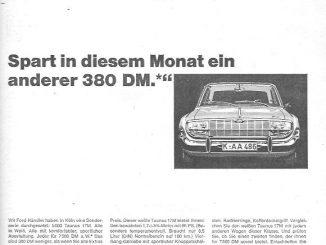 """Die Werbung für den Aktionspreis für den Ford Taunus 17 M sieht aus, als hätte sie der Praktikant hastig zusammengeklebt. Die Aussage ist aber interessant: """"Wir Ford-Händler haben in Köln eine Sonderserie durchgesetzt..."""""""