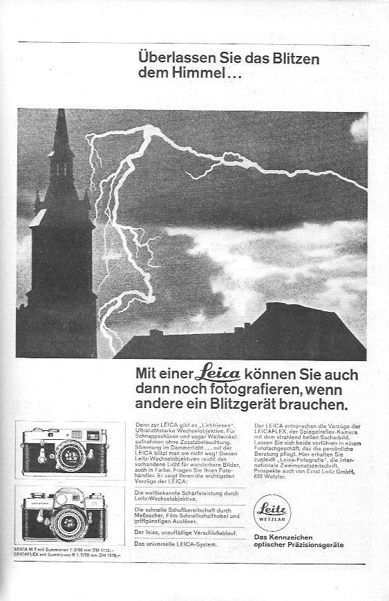 """Werbeanzeige von 1967 für Leica-Kameras des Herstellers Leitz. Beworben werden die """"Lichtriesen"""", besonders lichtstarke Wechselobjektive, die es ermöglichen sollen, auch dann noch zu fotografieren, wenn andere bereits ein Blitzgerät brauchen."""