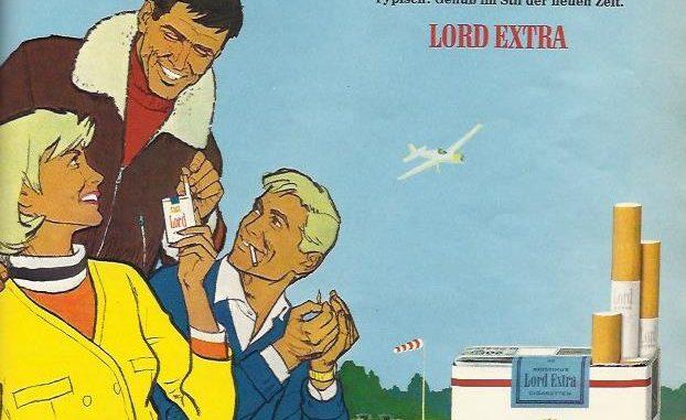 """Seit 1962 erst gibt es die """"neue"""" Zigarettenmarke Lord Extra von der Martin Brinkmann AG aus Bremen. Bis Anfang der 70er jahre schaffte es Lord Extra auf Platz 2 (nach HB) im deutschen Zigarettenmarkt. Die Zielgruppe der Anzeige: Junge, erfolgreiche Menschen."""