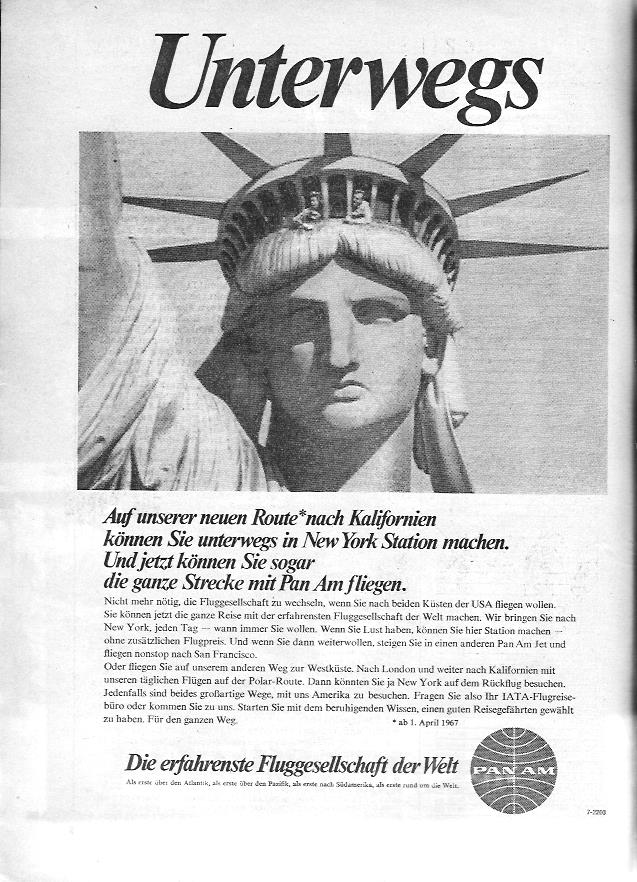 Die Anzeige von PAN AM aus 1967 wirkt weit weniger glamorös, als die Fluggesellschaft in Deutschland gesehen wurde. Hier wirbt Pan Am dafür, von Deutschland aus bis nach Kalifornien zu fliegen.