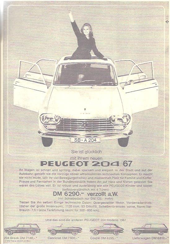 """Mit dem Peugeot 204 werden explizit Frauen angesprochen. Er ist robust und zuverlässig wie alle """"Peugeot Kinder"""" und hat massenhaft Platz für Familie und Koffer."""