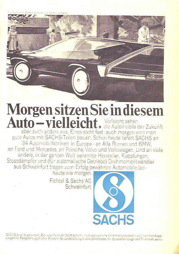 Fichtel & Sachs wirbt 1967 mit dem Auto der Zukunft.