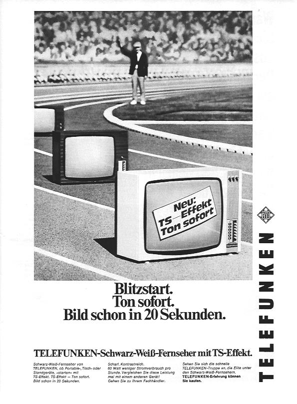 Seit dem 5. April 1969 konnte man überall in der Bundesrepublik Deutschland drei Fernsehprogramme empfangen. Telefunken wirbt hier in der Anzeige von Oktober 1969 mit schneller Aufwärmzeit: in nur 20 Sekunden gibt es ein Bild. Phänomenal!