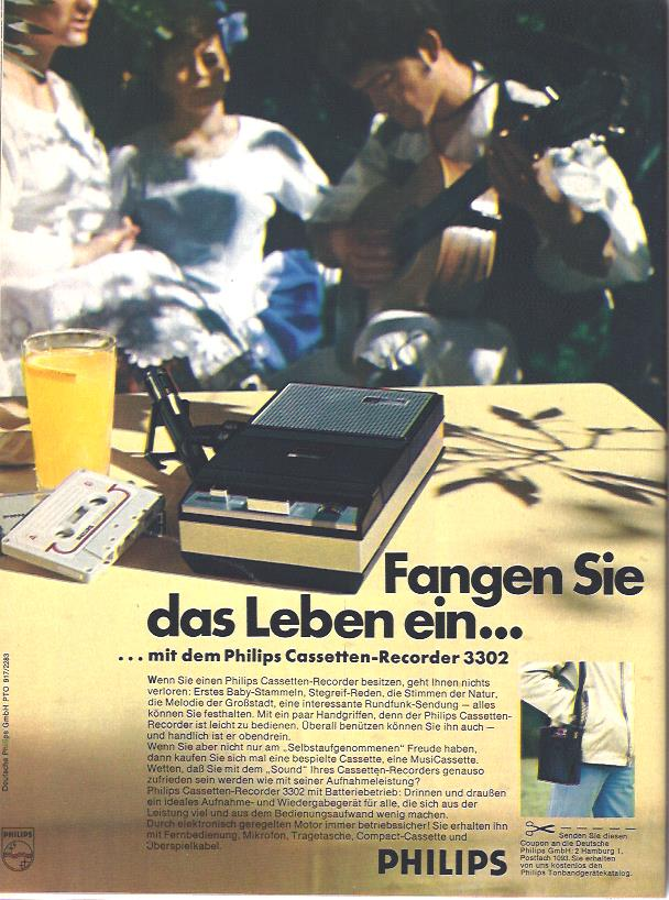 Anzeige von 1969 für den mobilen Cassettenr-Recorder von Philips. Mit Batteriebetrieb und Tragetasche. Wer kann sich noch daran erinnern, wieviel Reaktionsgeschwindigkeit man brauchte, um aus dem Radio Musik aufzuzeichnen?