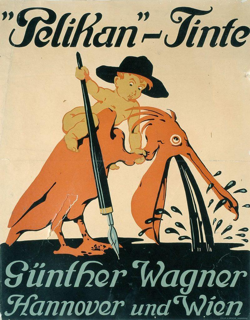 """Plakat """"Pelikan Tinte"""" (Junge würgt Pelikan) von Siegmund Suchjoodolski, 1909 (Foto:  Museen für Kulturgeschichte Hannover: Reinhard Gottschalk, Christian Rose)"""