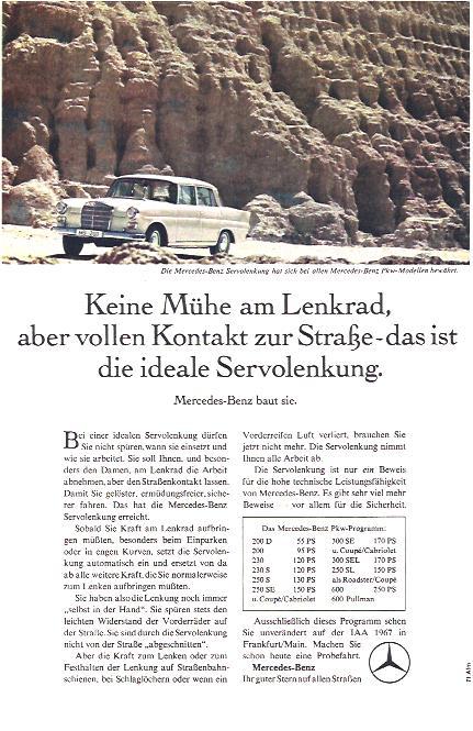 Werbeanzeige aus dem Jahr 1967 für die Mercedes-Benz Servolenkung.