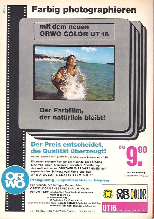 Eine Anzeige aus dem Jahr 1967 für ORWO-Diafarbfilme von der Berolina Kino-Optik GmbH