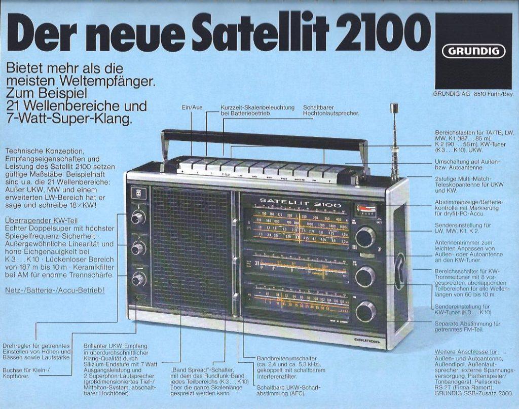 Anzeige aus dem Jahr 1976 für den Grundig Weltempfänger Satellit 2100
