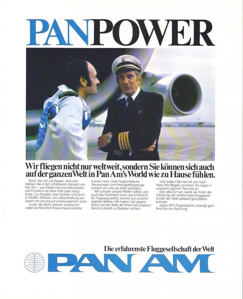Das Motiv weckt Vertrauen: Der offensichtlich erfahrene Pan Am Pilot spricht mit einem Techniker, der durch seinen Overall mit Firmenlogo als Pan Am Mitarbeiter vor Ort am Flughafen zu erkennen ist.