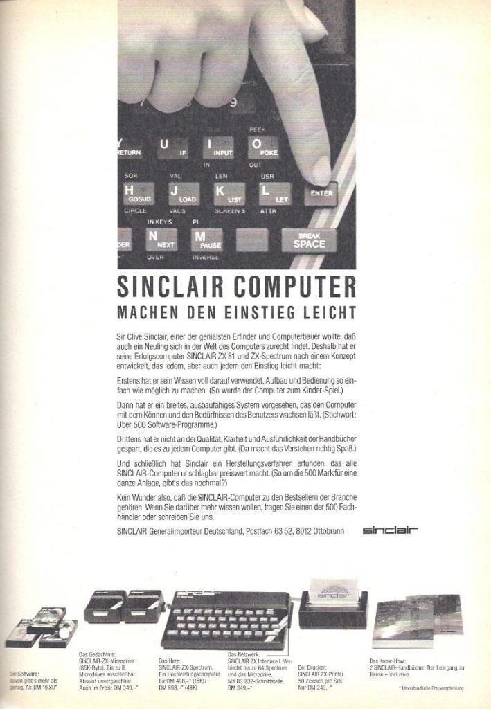 Sinclair Anzeige von 1984 für den den Sinclair ZX-81 und ZX-Spectrum.