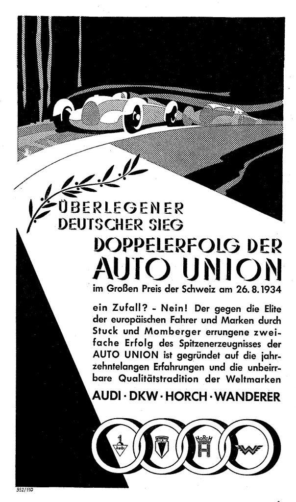 Beim ersten Großen Preis der Schweiz im August 1934 feiert die gerade verstaatlichte Auto-Union einen Doppelsieg - Grund genug für eine ganzseitige Anzeige.