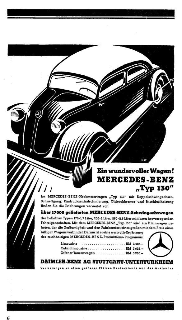 Anzeige von Mercedes-Benz für den Heckmotorwagen Typ 130 - der jedoch kein wirtschaftlicher Erfolg wurde.