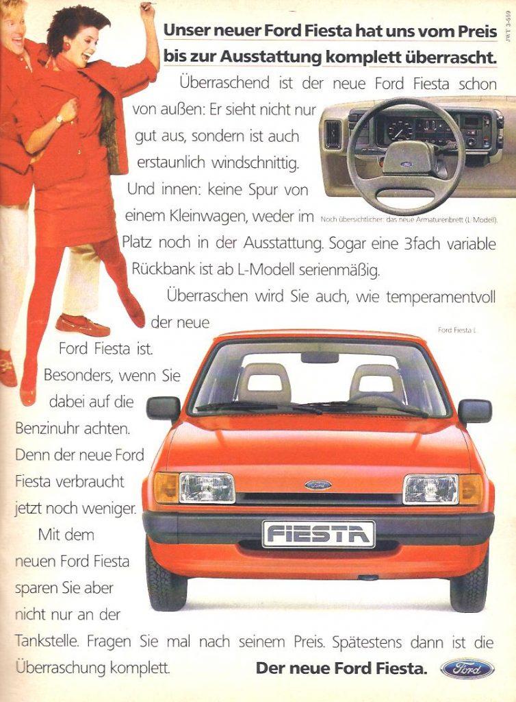 Ford präsentiert den Kleinwagen Fiesta in der Cosmopolitan 1984 als komplette Überraschung. Diese fällt - ganz wie der Text - so groß aus, dass die Kunden an den Seitenrand gedrückt werden.