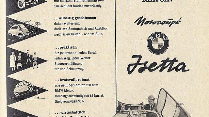 Werbeanzeige für die BMW Isetta aus dem Jahr 1956