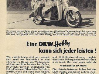 Anzeige aus dem Jahr 1956 für den Roller DKW Hobby von der AUTO UNION.