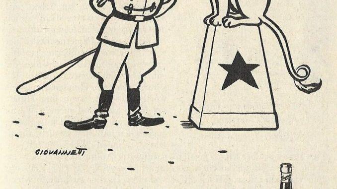 Da musste man zweimal hinsehen: Anzeige der Weinbrandmarke Dujardin aus dem Jahr 1954...