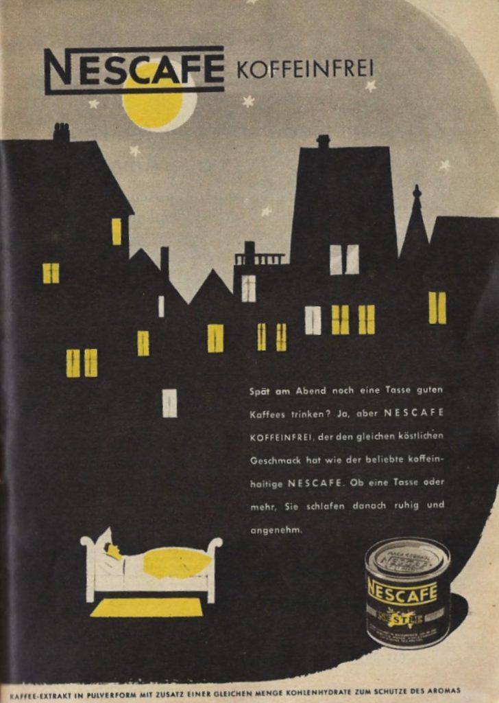 Anzeige für NESCAFE koffeinfrei aus dem Jahr 1952.